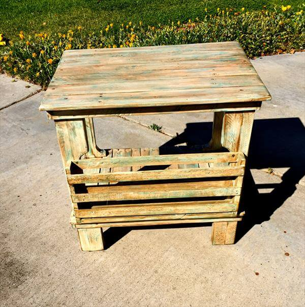 reclaimed pallet side table and coffee table design