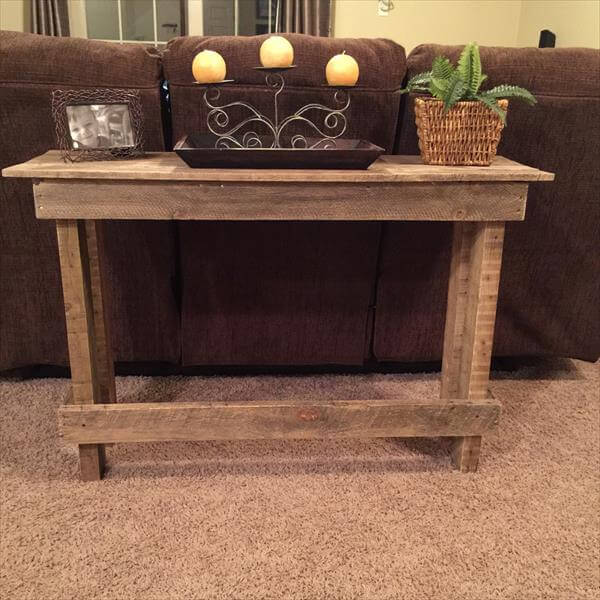 Diy pallet sofa table console table 101 pallets for Sofa table made from pallets