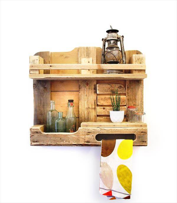Pallet Shelves Ideas: DIY Pallet Wood Kitchen Shelf- Wall Unit