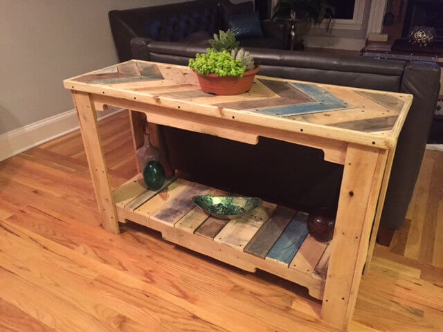 Wood Pallet Reclaimed Sofa Table 101 Pallets