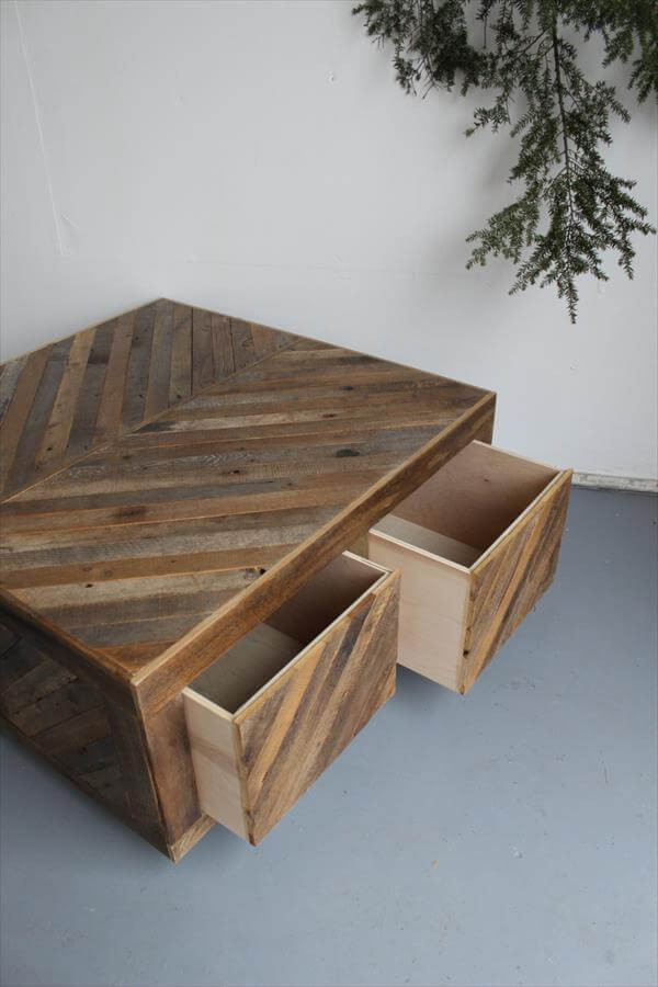 Rustic Inspired Coffee Table With Drawers Pallets