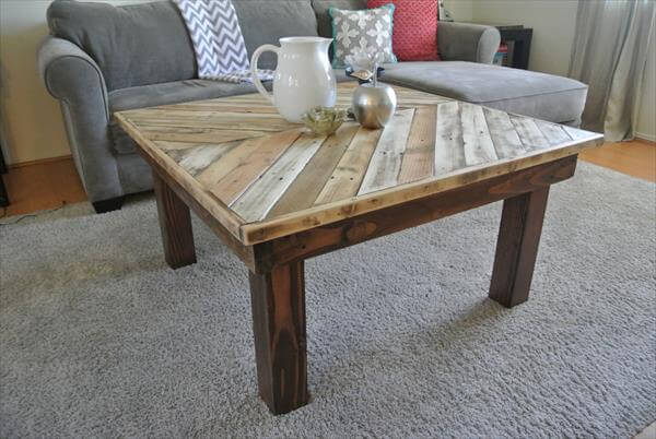 Diy Chevron Pallet Wood Coffee Table Pallets