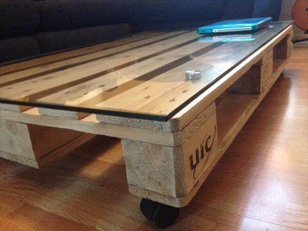1 Whole Pallet Coffee Table With Glass Top 101 Pallets