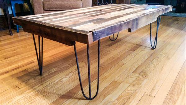 DIY Pallet Coffee Table with Metal Hairpin Legs | 101 Pallets