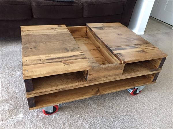 pallet coffee table with storage and wheels 101 pallets
