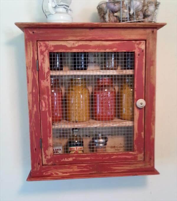Diy pallet storage cabinet kitchen shelf 101 pallets for Cabinets 101