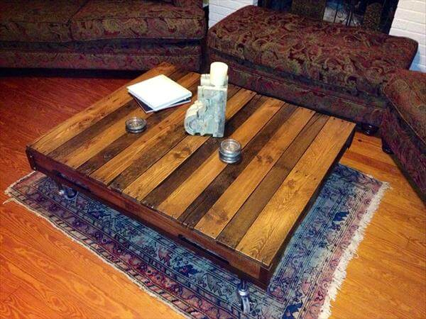 handcrafted pallet living room coffee table with wheels