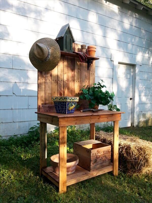 DIY Wood Pallet Potting Bench | 101 Pallets