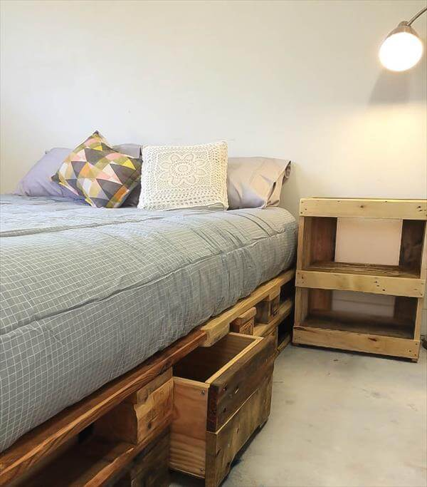 Whole Euro Pallet Bed With Storage Drawers 101 Pallets