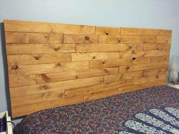 Diy wood recycled pallet headboard 101 pallets for Diy pallet headboard king