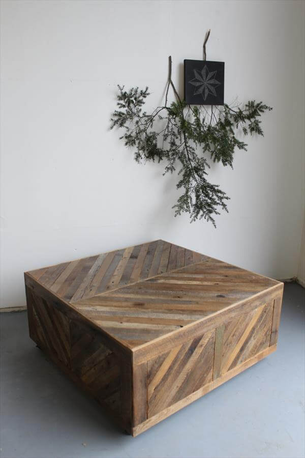 Rustic inspired coffee table with drawers 101 pallets for Rustic coffee table with drawers