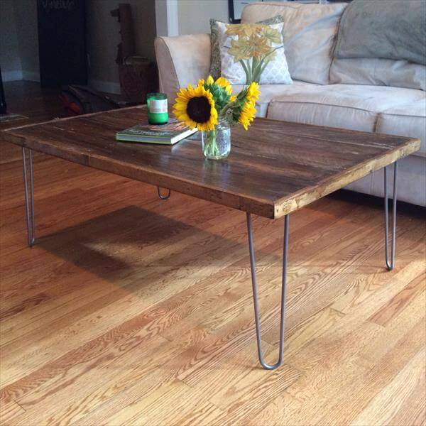 industrial pallet coffee table with metal hairpin legs