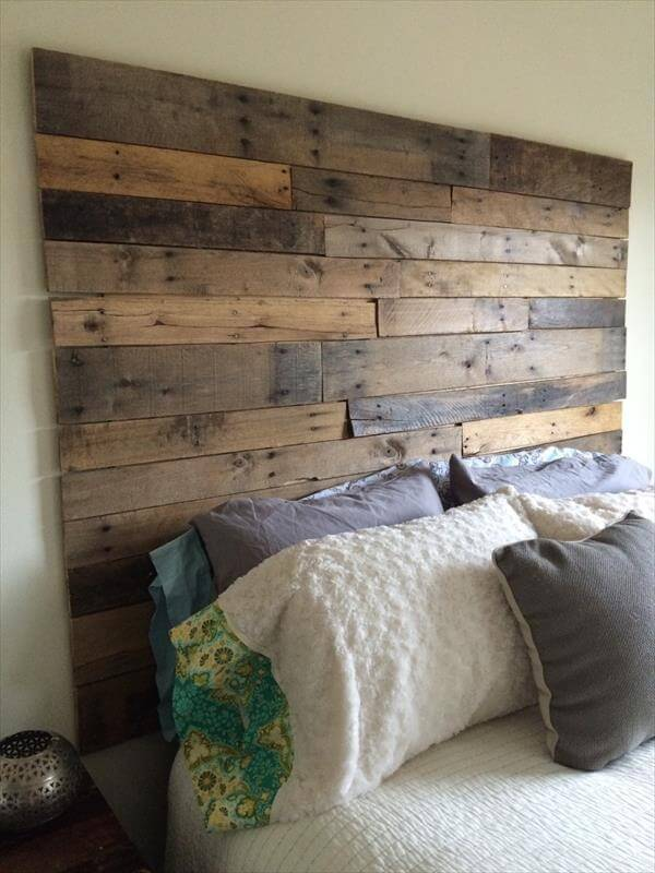 Diy pallet headboard 101 pallets for How to make a wood pallet headboard