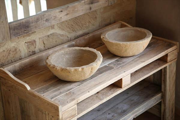 handmade wooden pallet washbasin and mirror