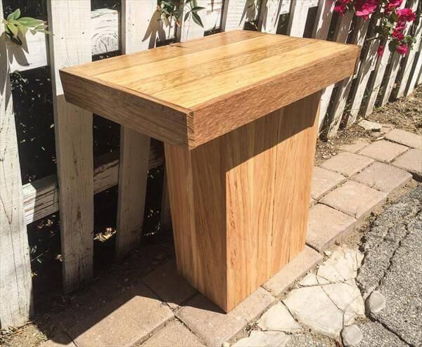 handmade wooden pallet sleek side table or mini coffee table