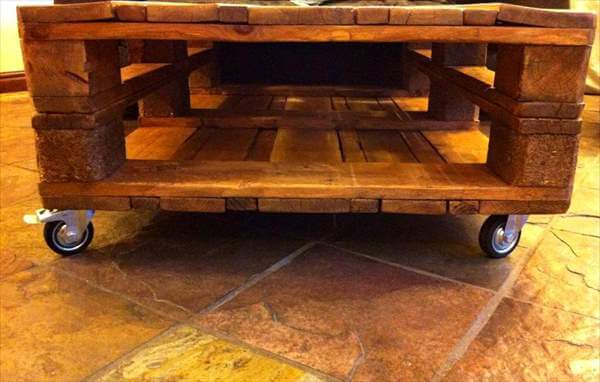 Amazingly made euro pallet coffee table 101 pallets for Pallet wall on wheels