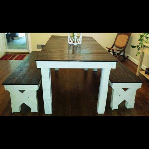 DIY Pallet Farmhouse Dining Table 101 Pallets