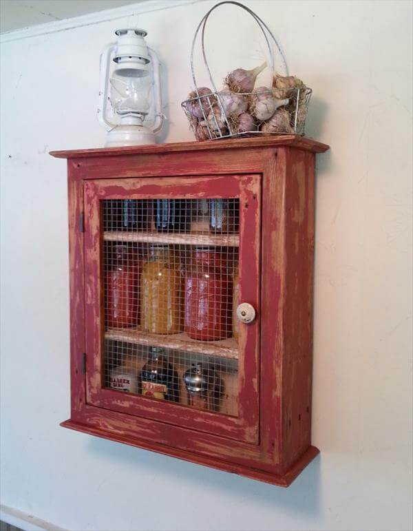 Diy Pallet Storage Cabinet Kitchen Shelf 101 Pallets
