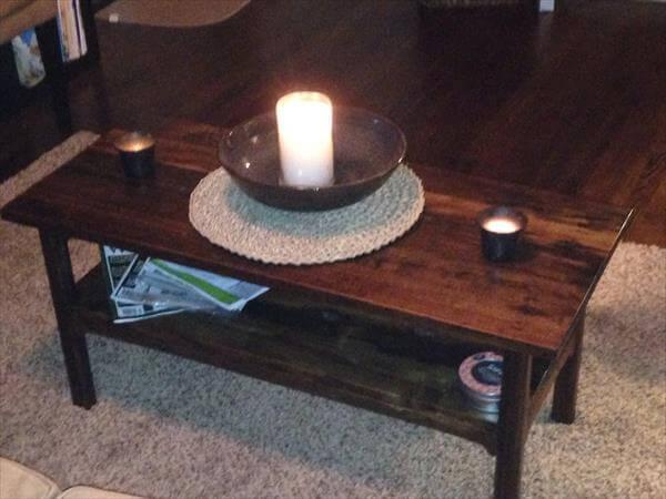 repurposed pallet dark stained coffee table