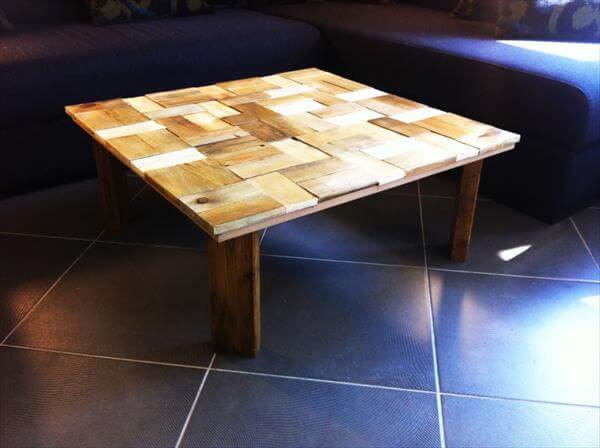 diy pallet coffee table with patterned top | 101 pallets
