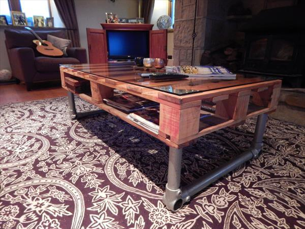Diy Pallet Wood Industrial Coffee Table Pallets
