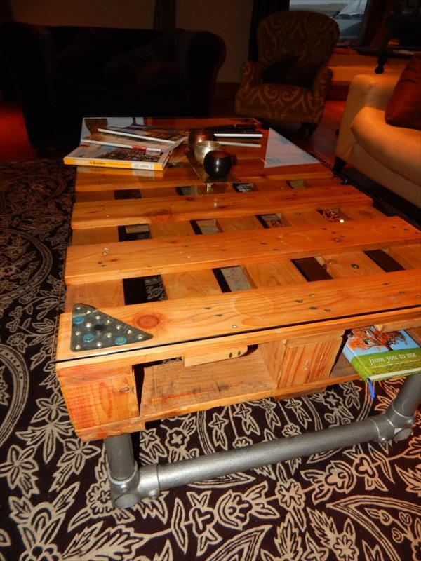 Diy pallet wood industrial coffee table 101 pallets for Diy table base for glass top
