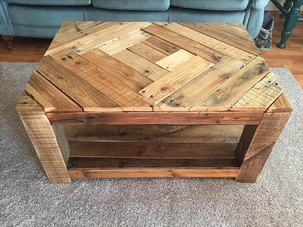 Rustic Wood Pallet Coffee Table With Pattern 101 Pallets
