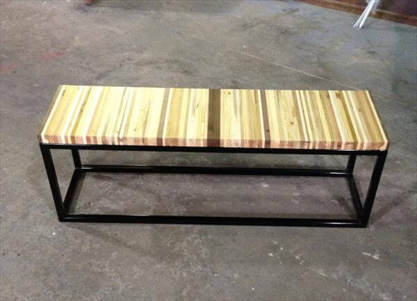 Repurposed pallet wood and steel bench