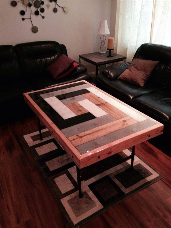 recycled pallet modern coffee table