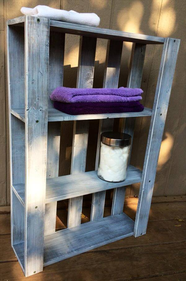 Diy pallet art style wall shelves 101 pallets for How to build pallet shelves