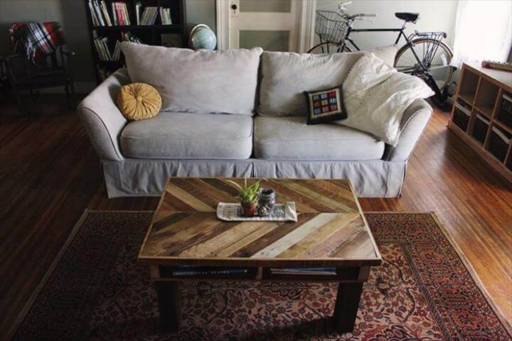Chevron pallet coffee table 101 pallets for Pallet coffee table instructions