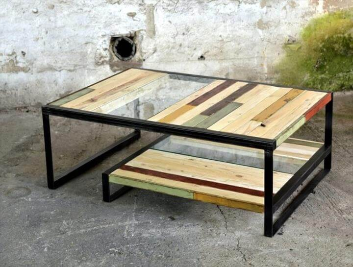 Pallet Metal And Glass Coffee Table Pallets