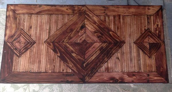 wooden pallet coffee table with diamond pattern