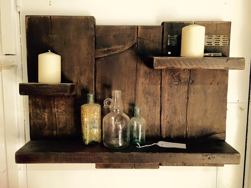 antique wooden pallet shelf