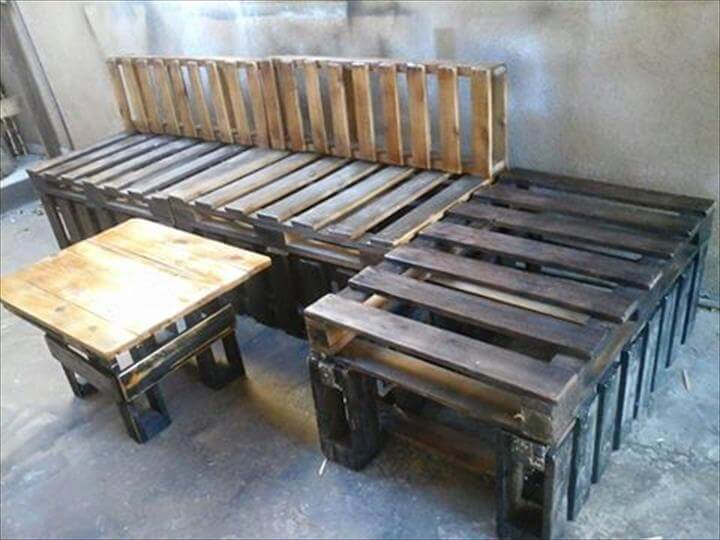 wooden pallet sectional sofa set