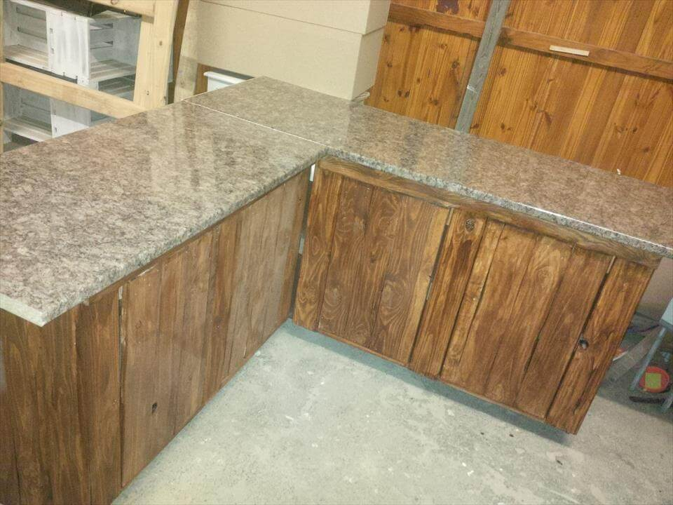 kitchen cabinets made out of pallets pallet kitchen counters with storage cabinets 101 pallets 20760
