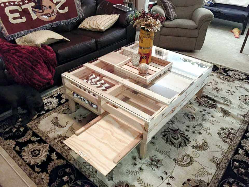 DIY Pallet Coffee Table With Glass Top And Lights 101