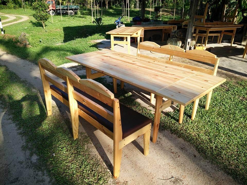 Wooden pallet outdoor dining set