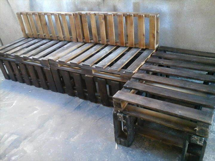 rustic wooden pallet sectional sofa frame