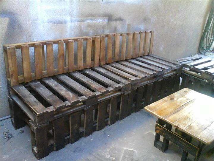 upcycled wooden pallet sectional sofa set