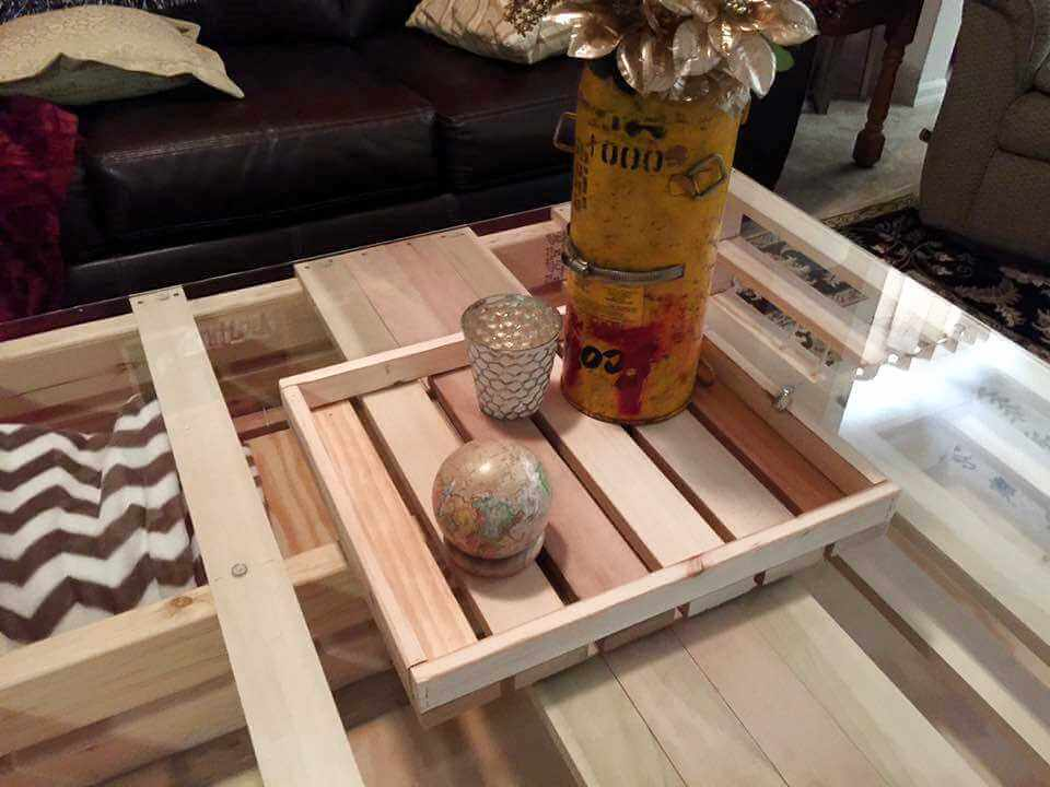 Pallet Coffee Table With Glass Top Storage Pallets
