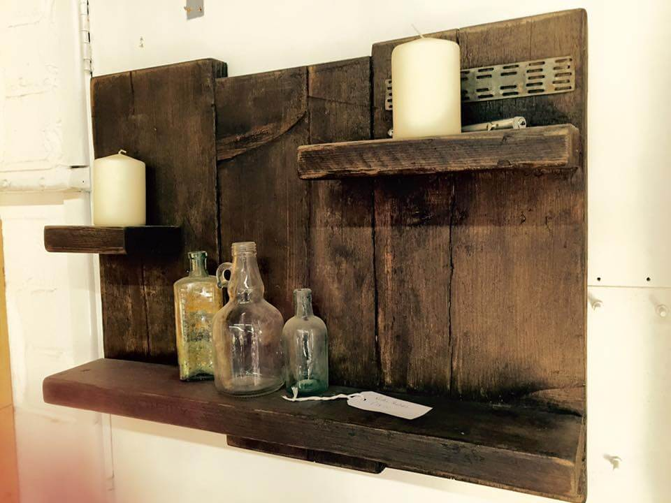 handmade wooden pallet wall shelf