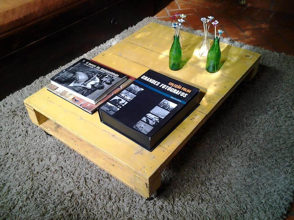 diy pallet coffee table on wheels