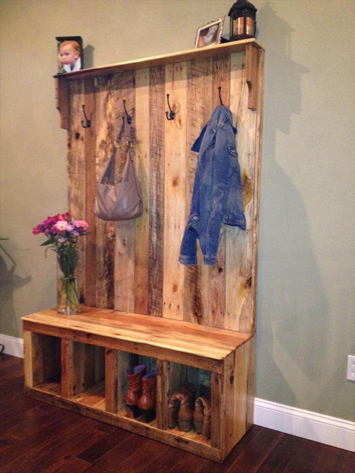 Pallet Hall Tree Shoe Rack Or Coat 101 Pallets