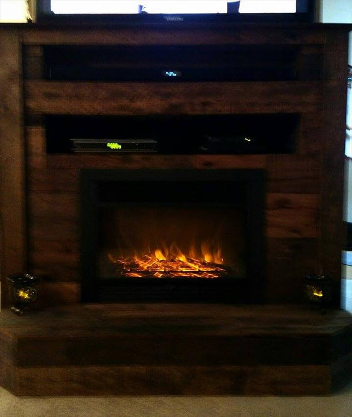Pallet Tv Stand With Faux Fireplace 101 Pallets
