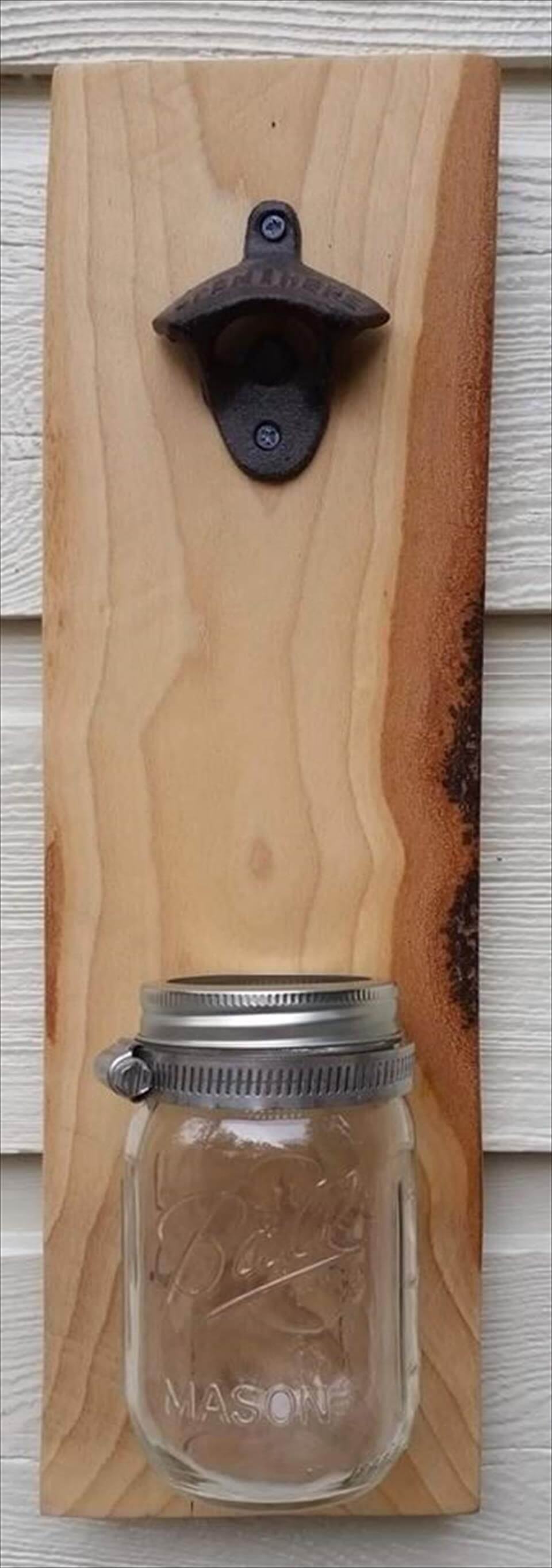 Wooden pallet bottle opener with cap catcher