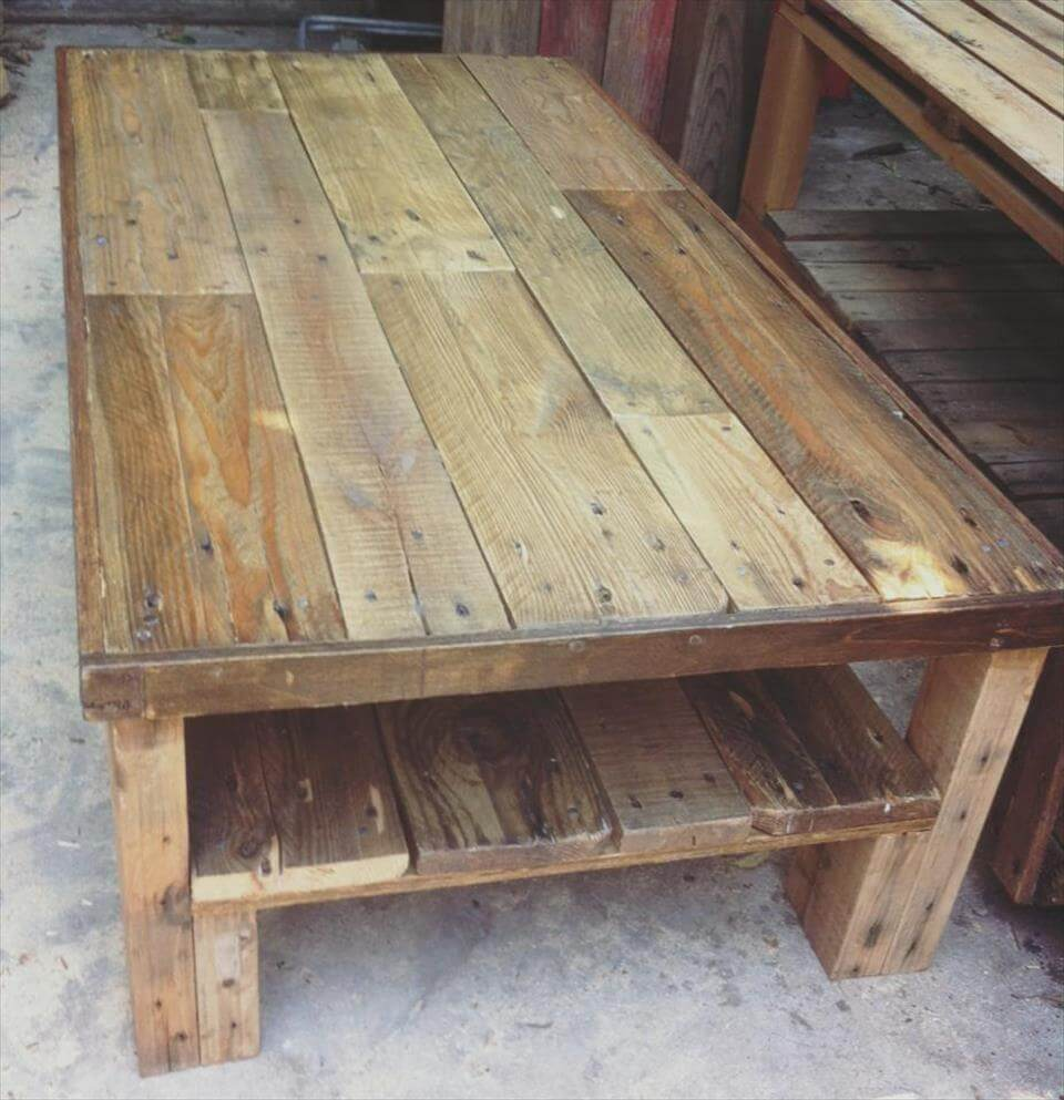 DIY Pallet Large Size Coffee Table Wooden Pallet Patio Furniture Set ...