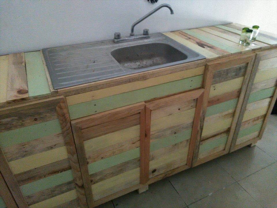 Pallet Wood Kitchen Counter With Sink | 101 Pallets