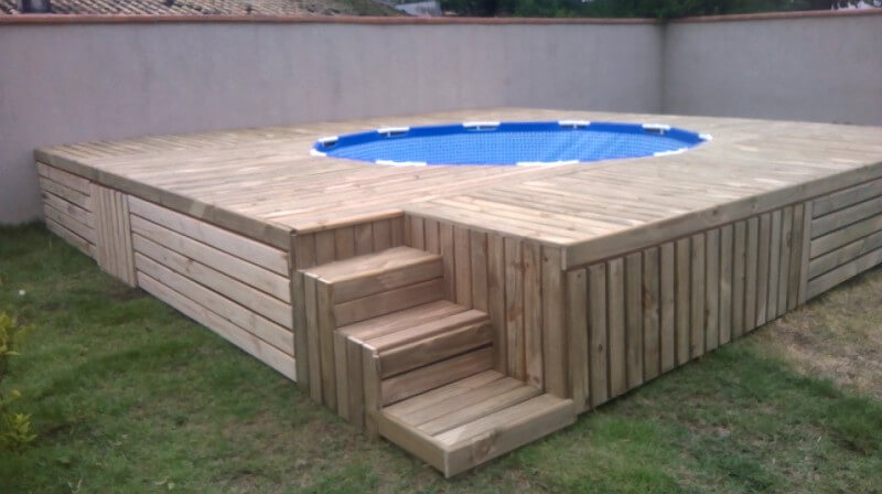 ... wooden stair, would be all convenient to reach poolside deck area with