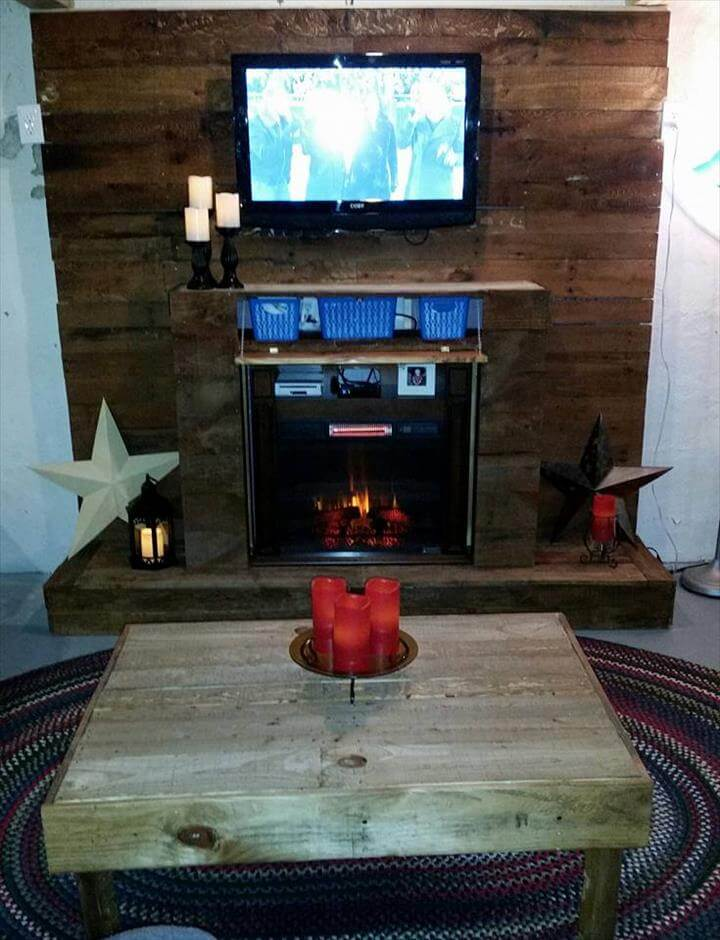 pallet wall with faux fire place